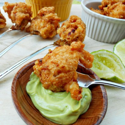 Chipotle Shrimp Fritters w/ Avocado Dipping Sauce
