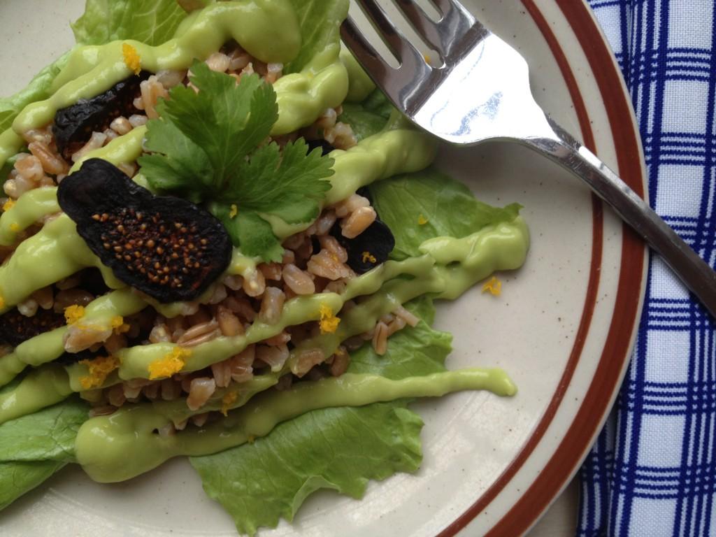 Farro & Fig Salad with Avocado-Orange Dressing