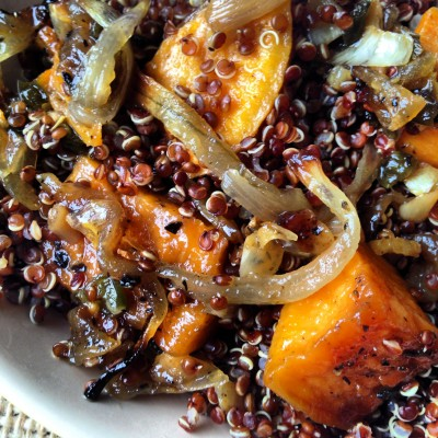 Chile Red Quinoa and Sweet Potato Salad