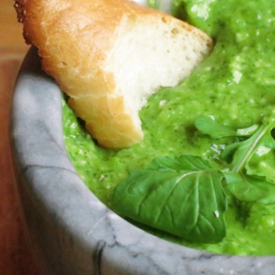 Arugula and Fava Beans Pesto by @HungryFoodLove