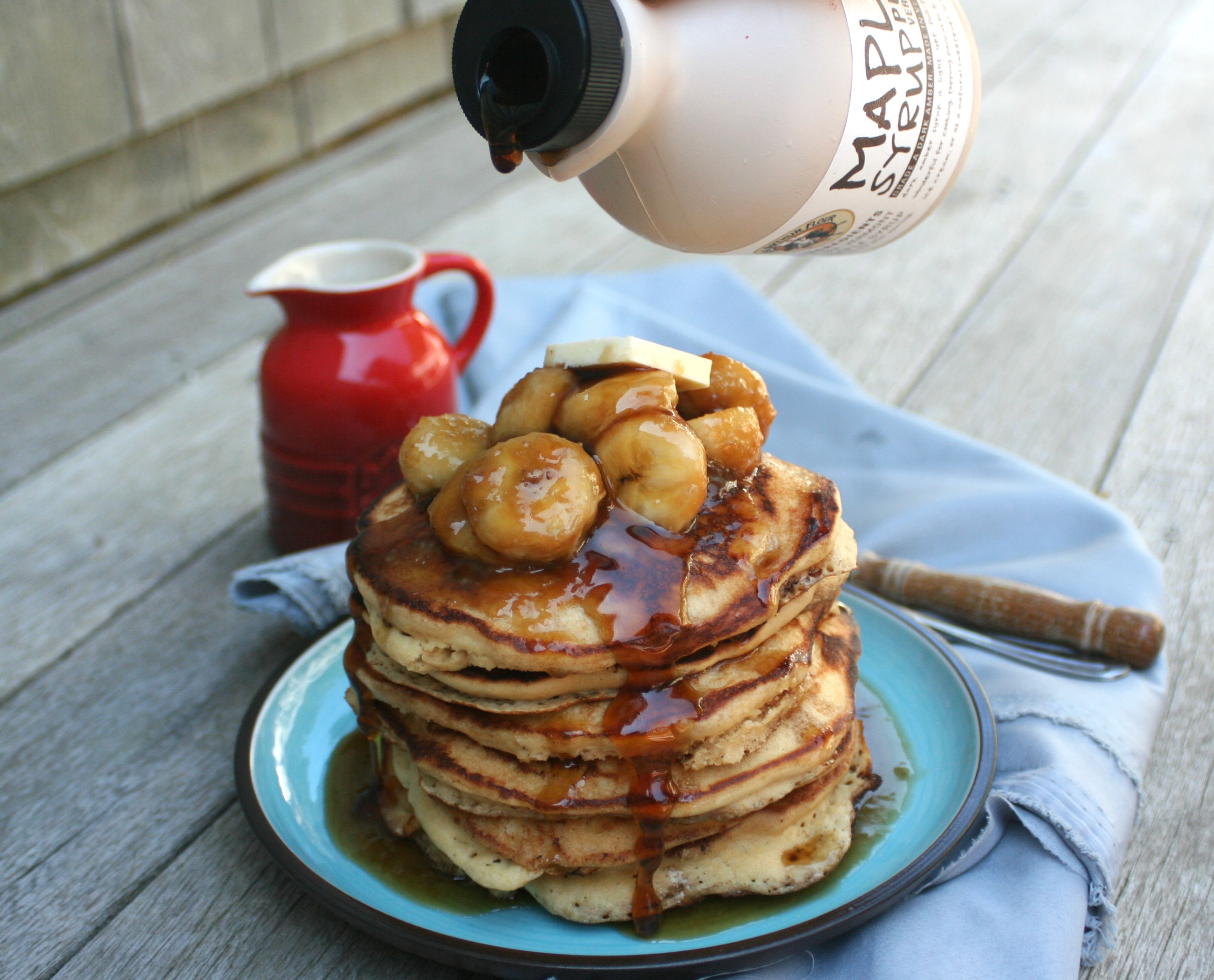 Tags: bananas foster , breakfast , pancakes , whole wheat