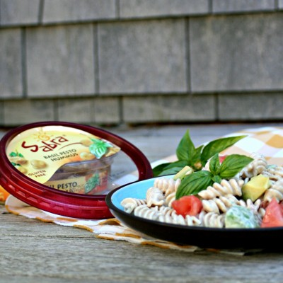Avocado Tomato Basil Pesto Hummus Pasta Salad
