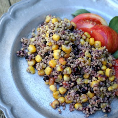 Balsamic Wild Blueberry Millet and Corn Summer Salad