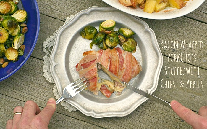 Bacon-Wrapped Pork Chops Stuffed with Apples and Cheddar - Get this delicious Fall dinner recipe on CookingWithBooks.net