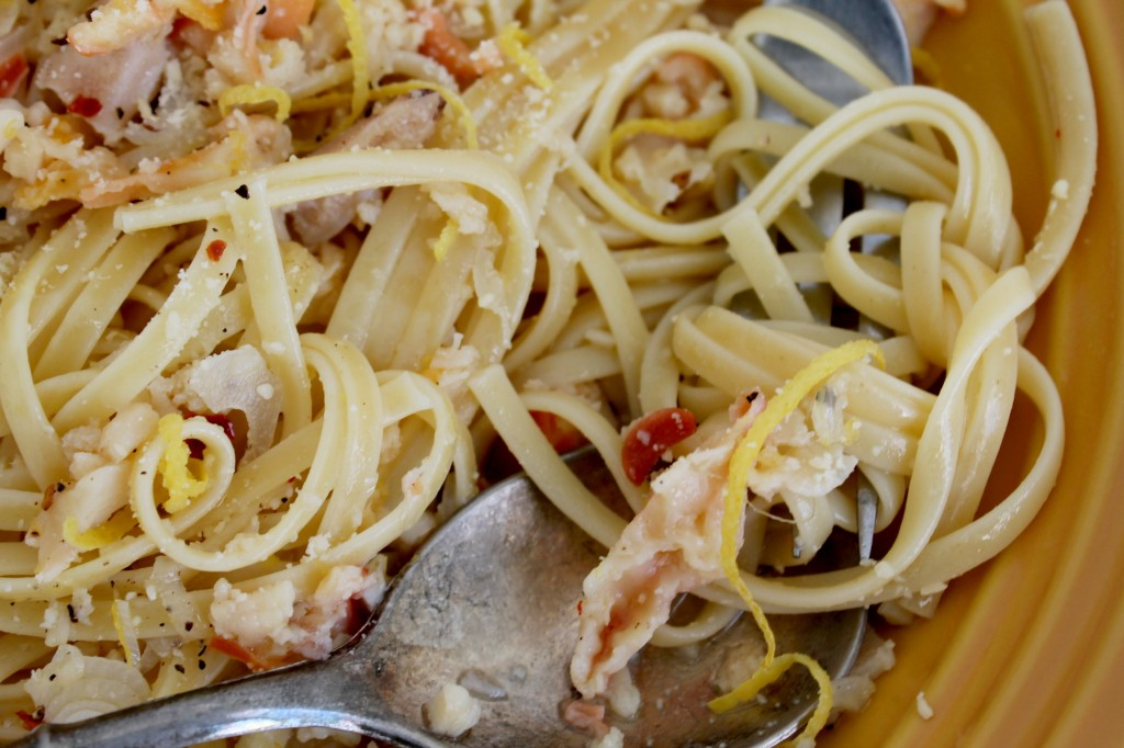 Linguine and Clams close-up