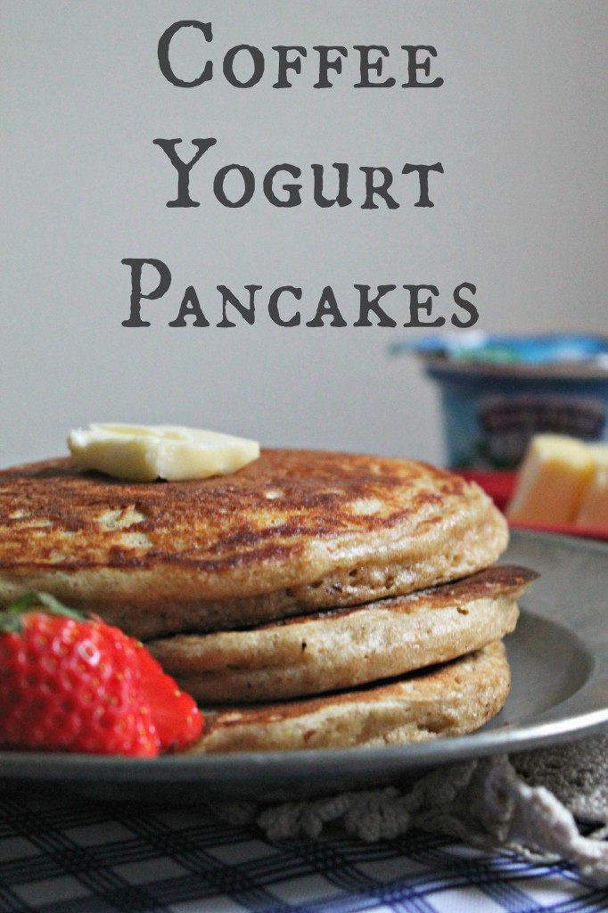 Coffee Yogurt Pancakes with Strawberry Compote 3