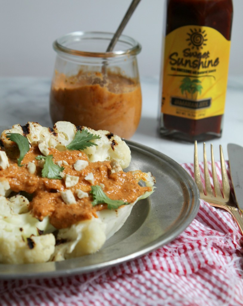 Grilled Cauliflower Steaks with Jamaican Jerk Cashew Sauce recipe
