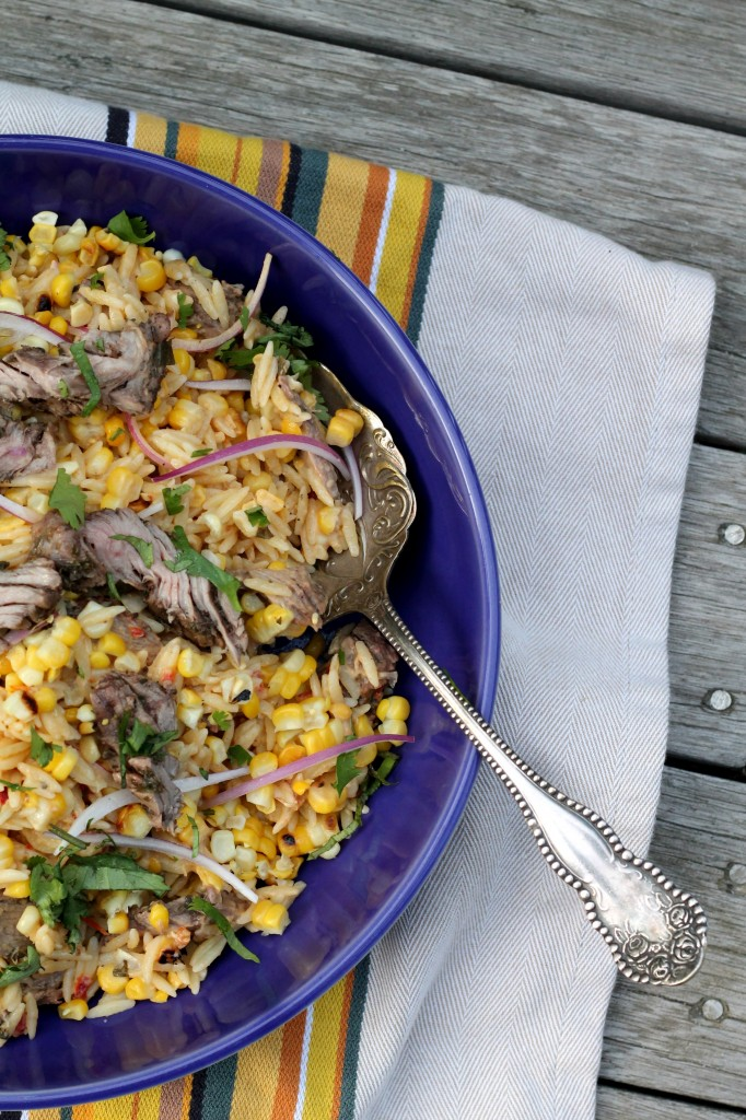Charred Corn and Steak Orzo Salad with Hummus Vinaigrette 001