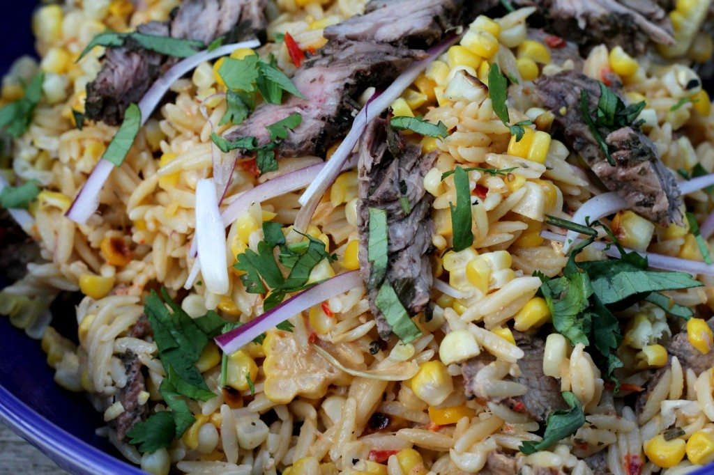 Charred Corn and Steak Orzo Salad with Hummus Vinaigrette 003
