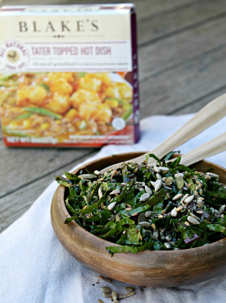 This delicious kale salad starts with kale getting a balsamic vinegar and olive oil massage. Then chia, pumpkin, sunflower, and flax seeds are tossed in for crunch, flavor, and health benefits!