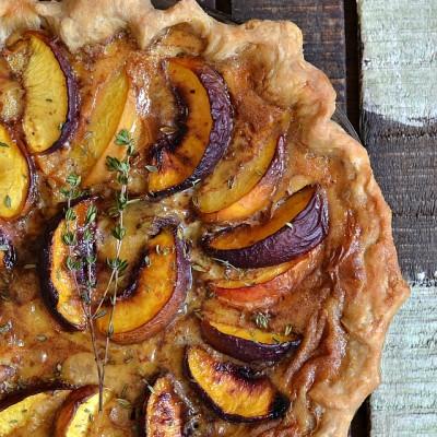 Peach and Thyme Custard Pie