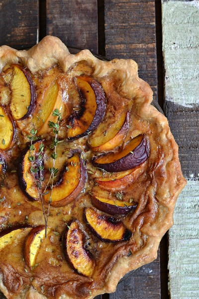 Peach and Thyme Custard Pie