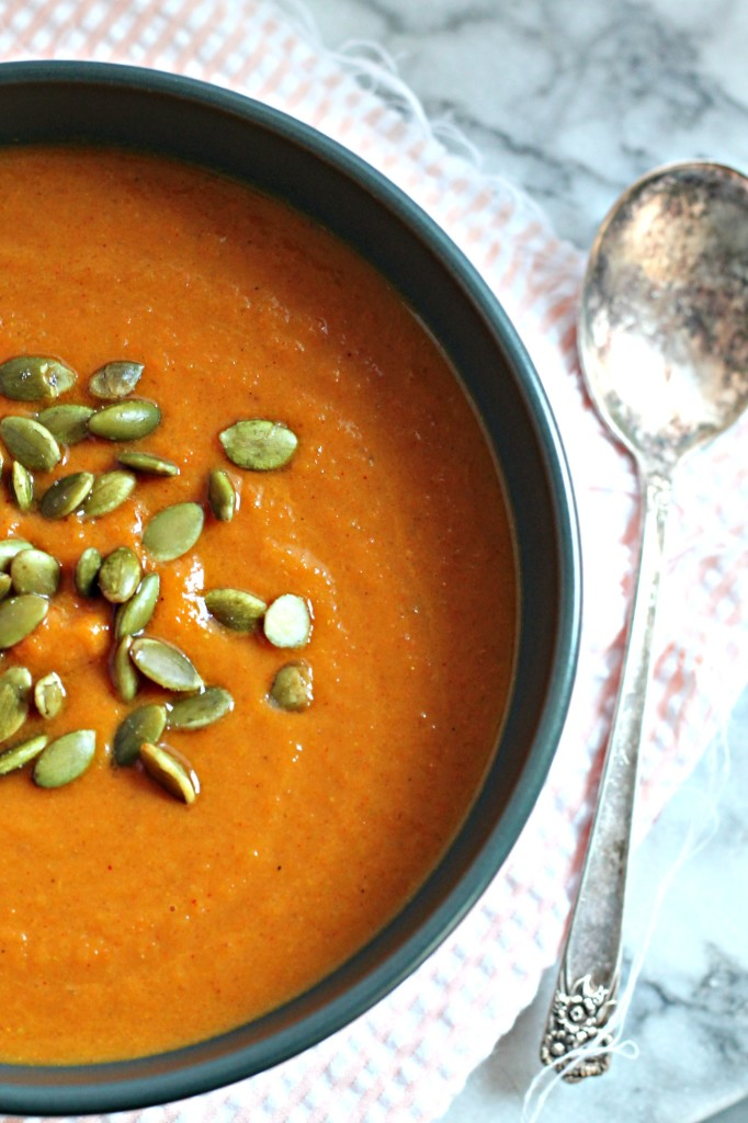 This Carrot & Pumpkin Curry Soup is colorful and packed with healthy benefits and flavor!