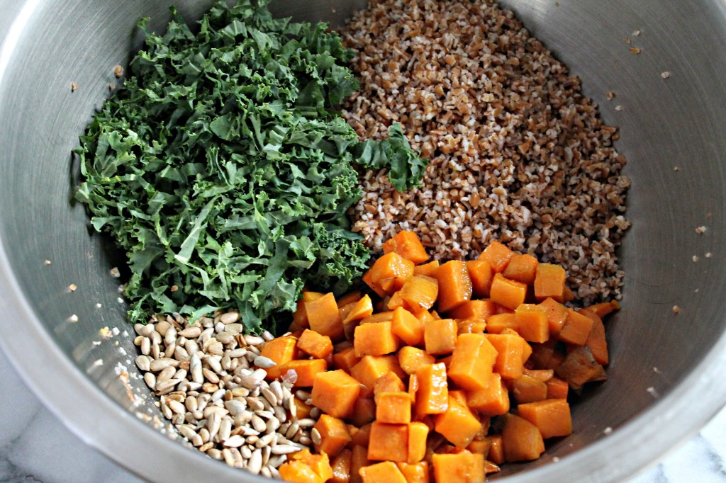 Bulgur Wheat, Sweet Potato, and Kale Salad with Red Wine Vinaigrette