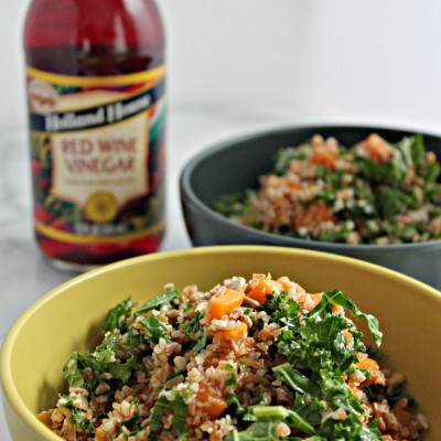 Bulgur Wheat, Sweet Potato, Kale Salad with Red Wine Vinaigrette