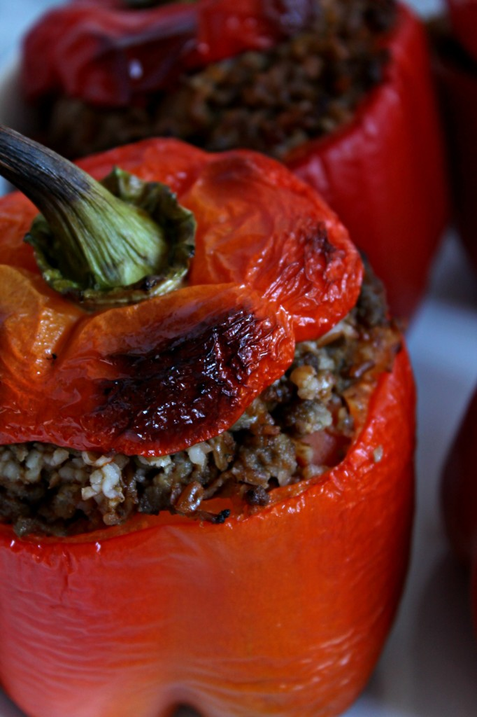 Healthier Stuffed Peppers with Bulgur Wheat