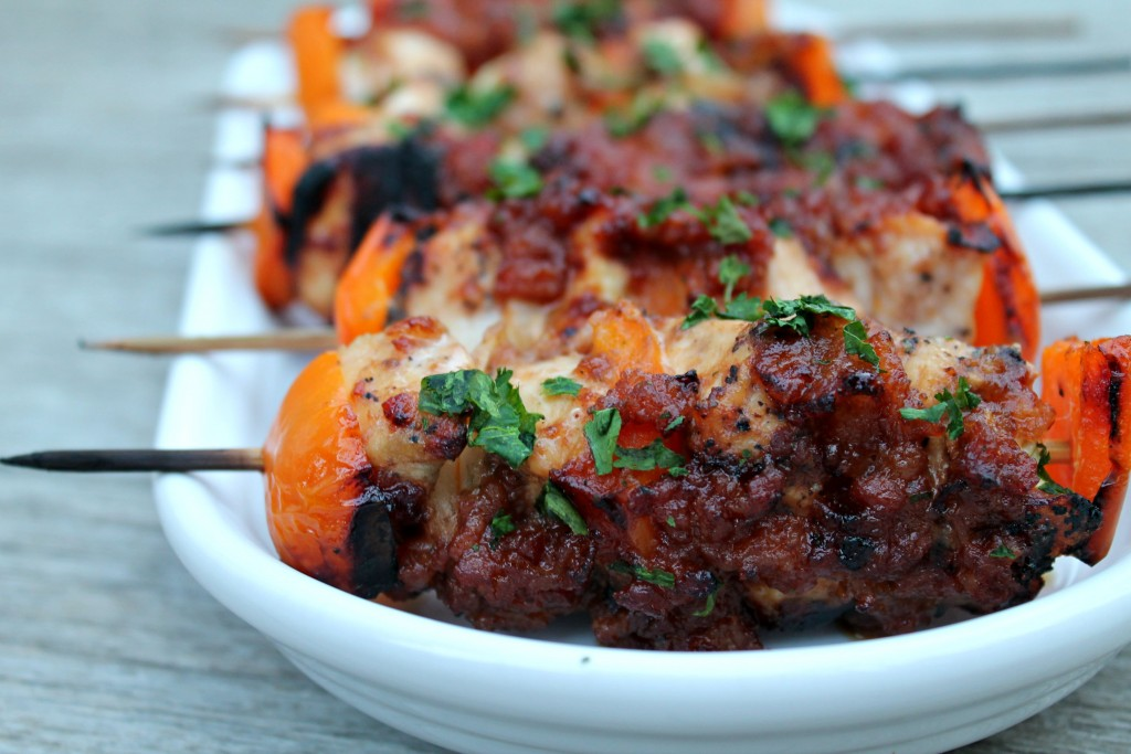 BBQ Whiskey Bacon Chicken Kebabs