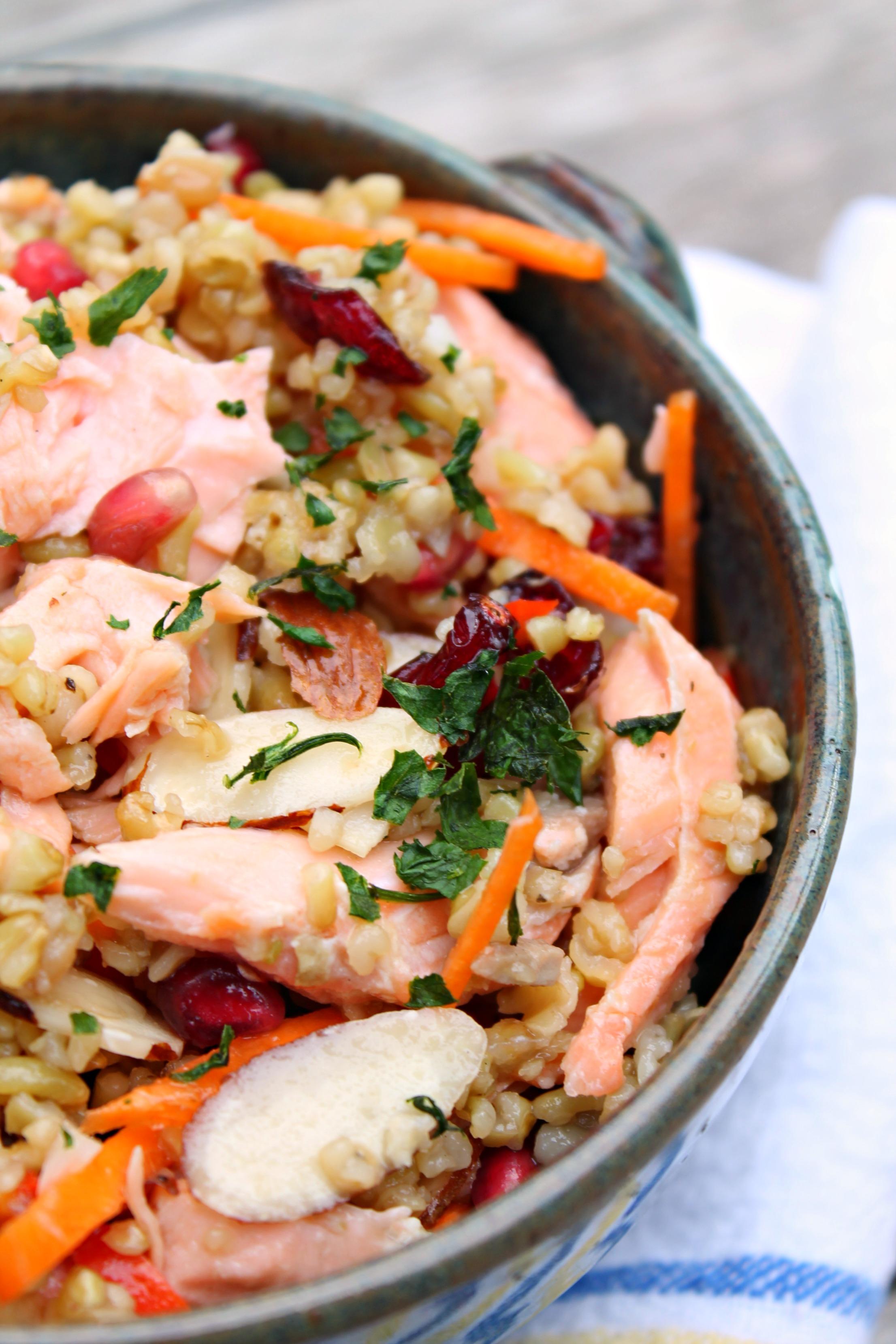 Whole Grain Salmon Salad made with farro...</p><a href=