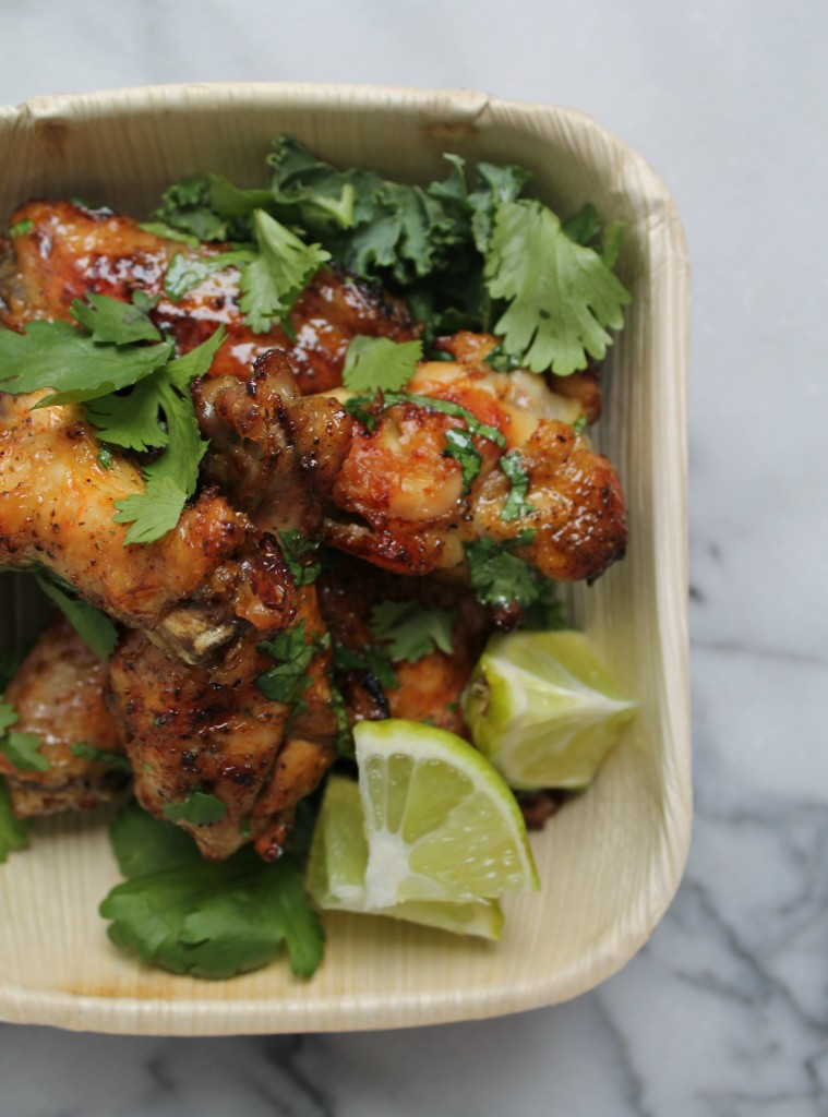 Honey Glazed Cilantro Lime Wings - The perfect game day appetizer! Get the recipe from CookingWithBooks.net