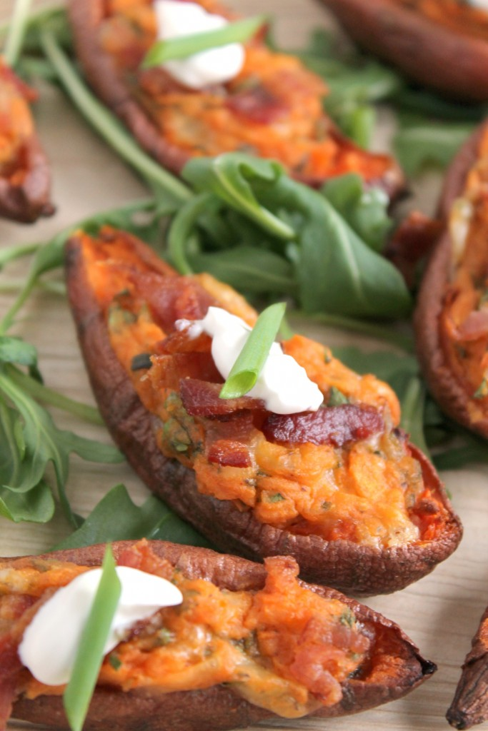 Loaded Sweet Potato Skins  - Recipe from CookingWithBooks.net