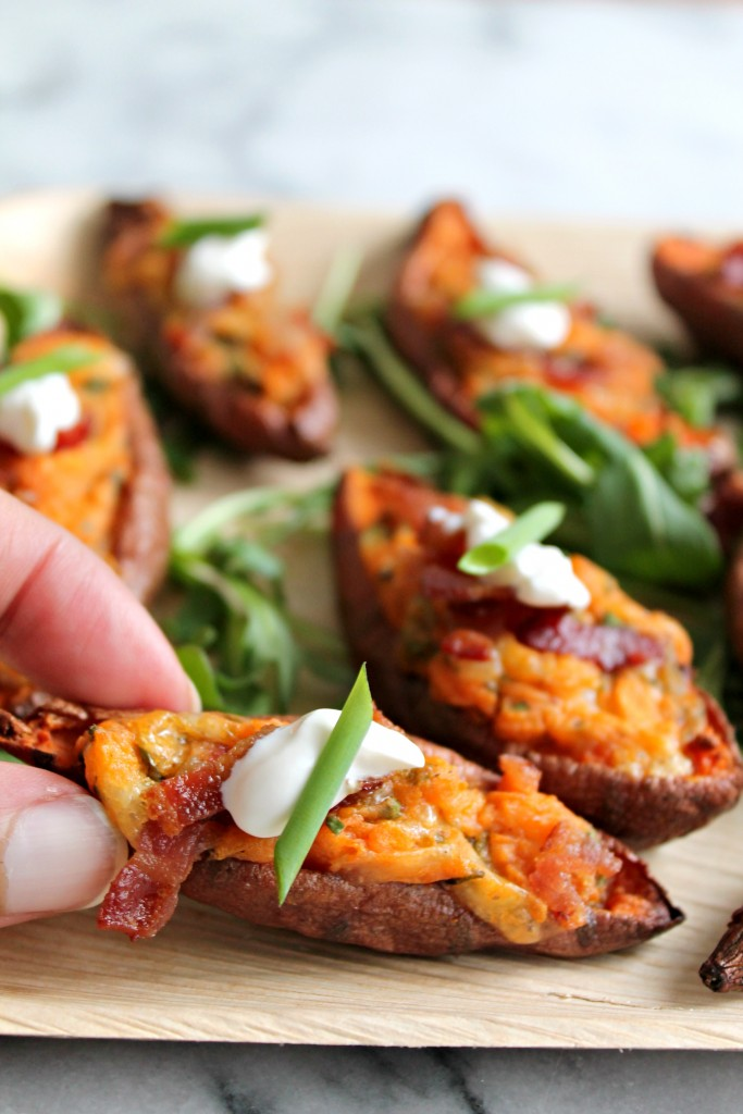 Loaded Sweet Potato Skins - Recipe on CookingWithBooks.net