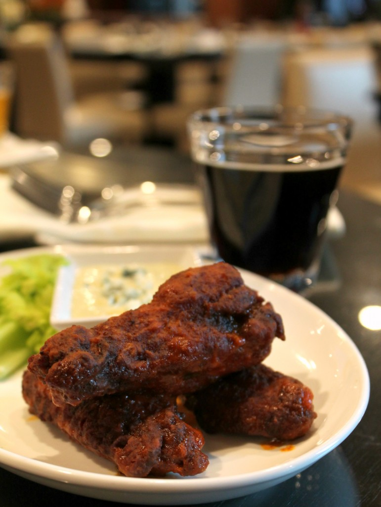 Paired Buffalo Chicken Wings with Blue Cheese, paired with Berkshire Brewing Company Coffeehouse Porter