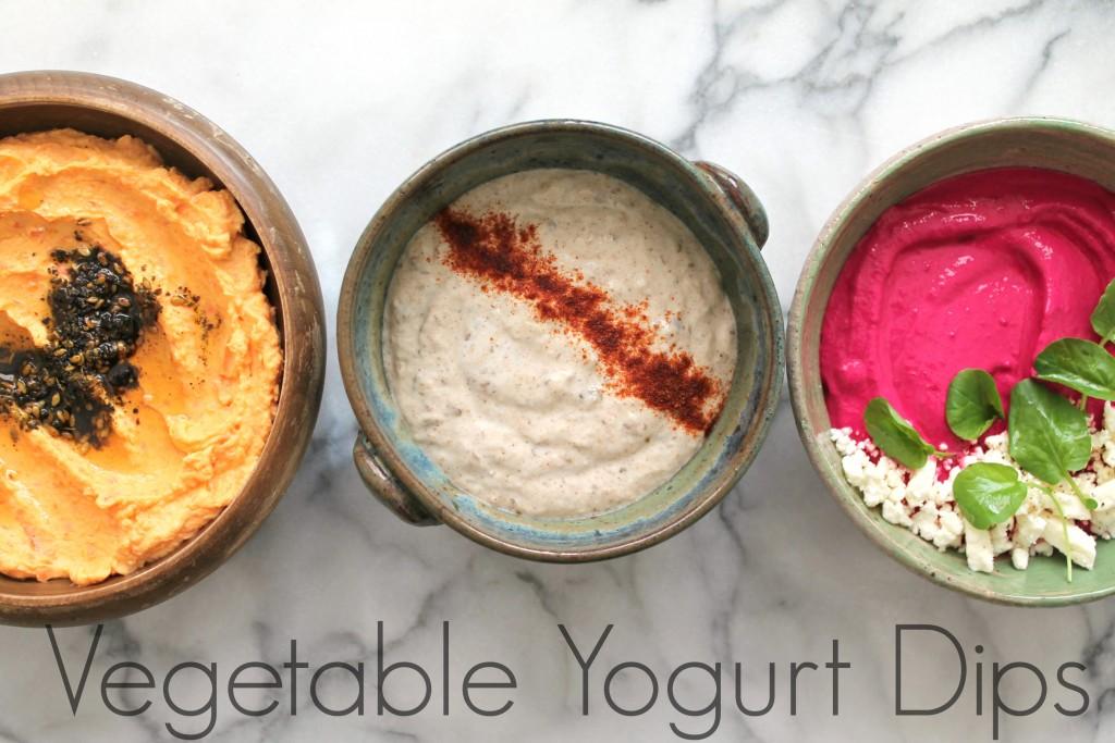 Creamy Vegetable Yogurt Dips - Three vegetarian yogurt-based dip recipes! Carrot dip, eggplant dip, and beet dip. Recipes on CookingWithBooks.net