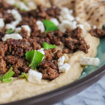 Warm Hummus with Spiced Beef and Feta