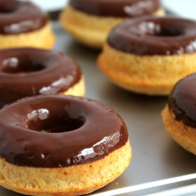 Chocolate Dipped Baked Vanilla Donuts