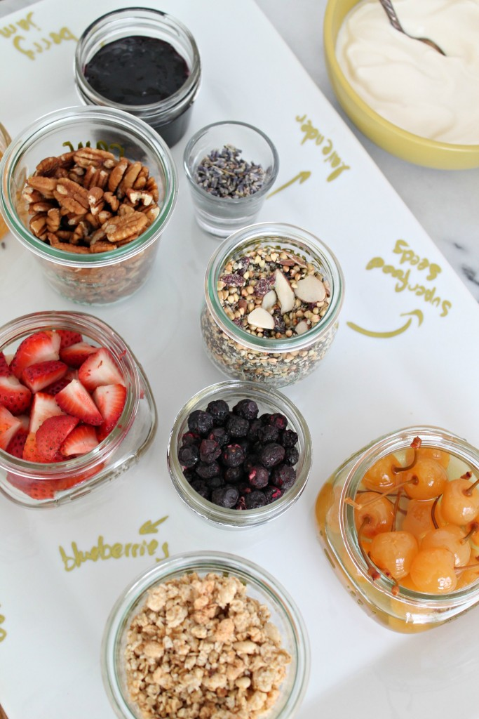 Easy brunch ideas like a DIY yogurt bar are a fun, interactive way to celebrate Mother's Day. - Learn how to make one on CookingWithBooks.net
