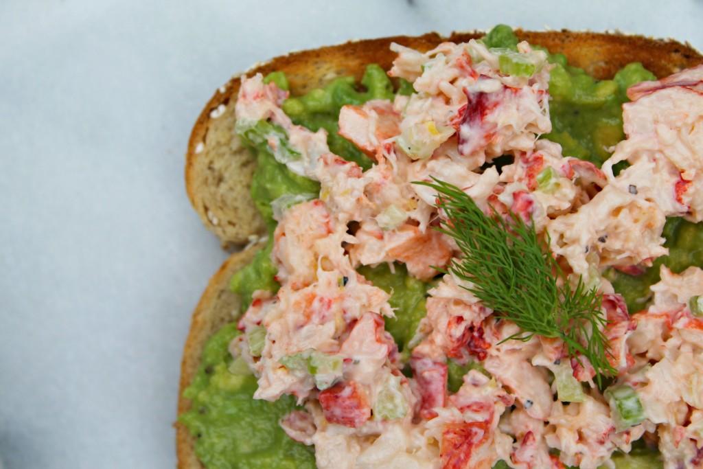 Avocado Toast Four Ways - Lobster salad, avocado, and dill!
