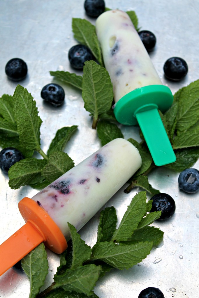 3-Ingredient Blueberry Banana Yogurt Pops  - Get the recipe from Cooking with Books