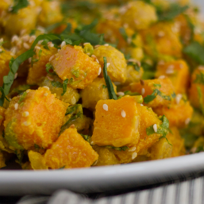 Sweet Potato & Chickpea Salad with Tahini Dressing