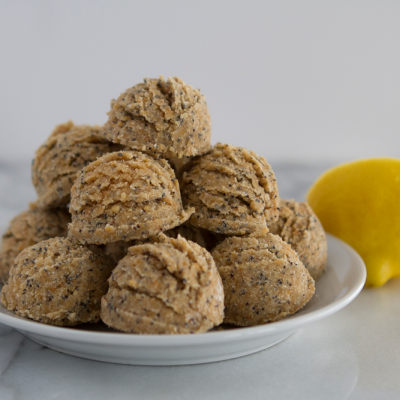 Lemon Poppyseed No-Bake Protein Bites