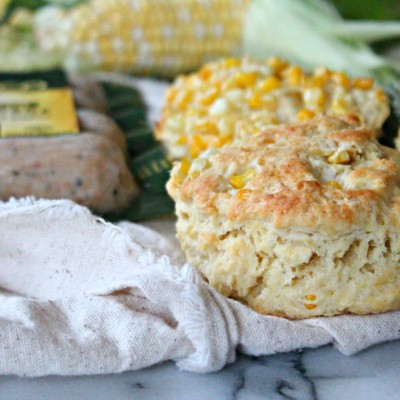 Spicy Chicken Sausage Gravy & Sweet Corn Biscuits