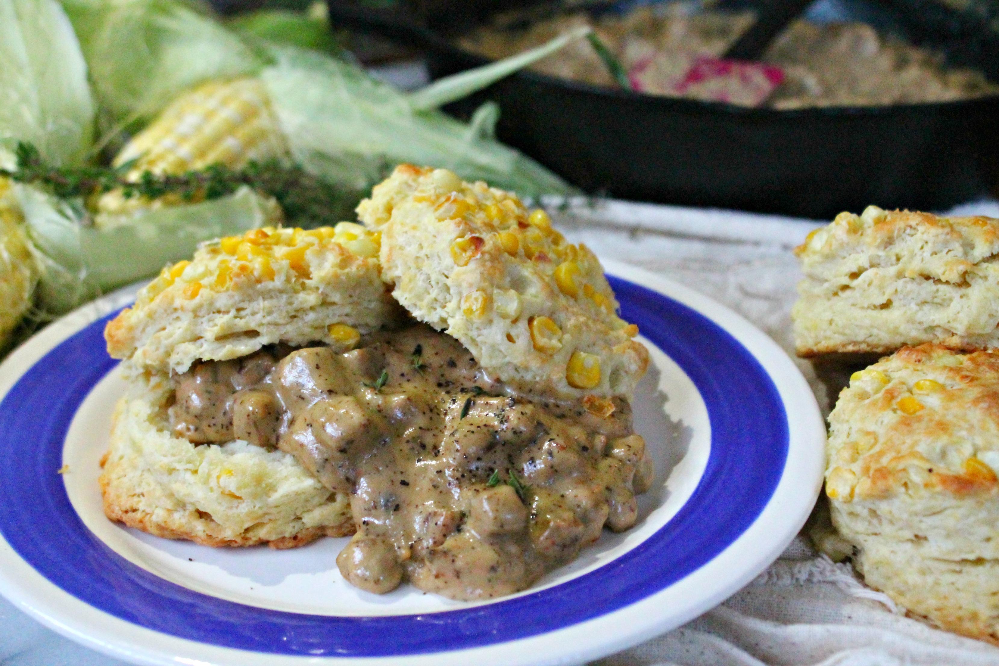 Spicy Chicken Sausage Gravy & Sweet Corn Biscuits recipe