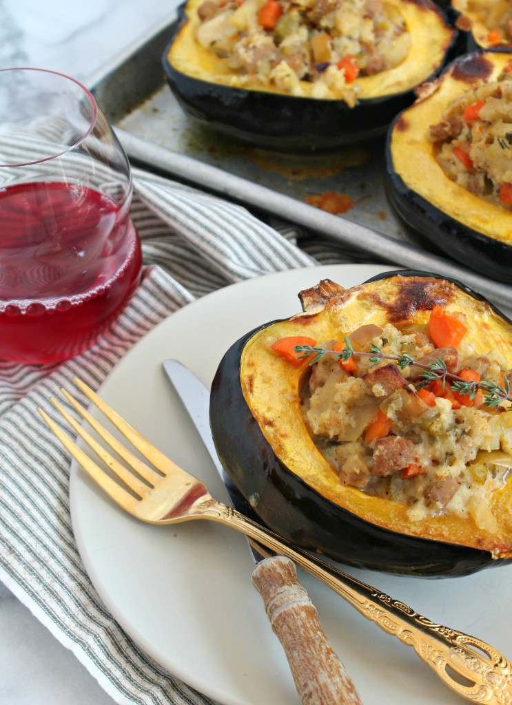 Great fall recipe for Sausage & Apple Stuffed Acorn Squash, dinner on the table!