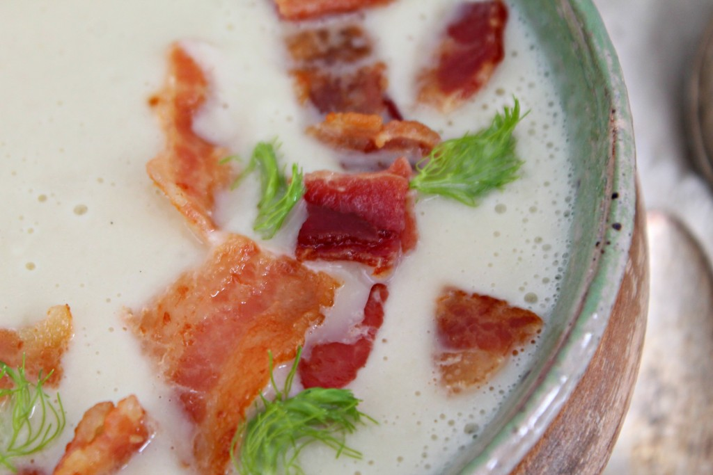 Cauliflower & Fennel Soup with Bacon is the perfect soup recipe to warm up this season with!