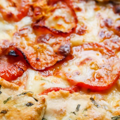 Tomato Mozzarella Galette with Basil Flecked Crust