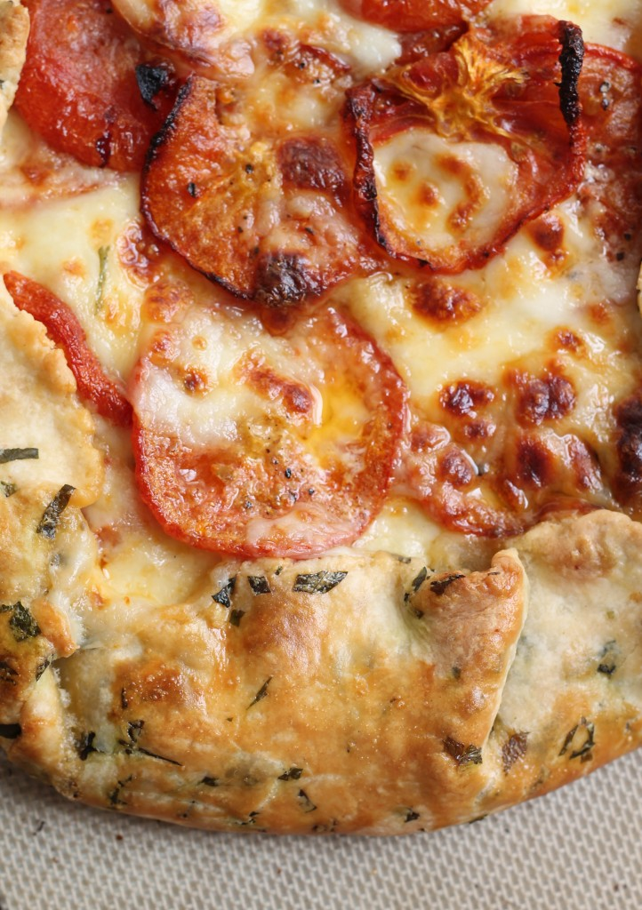 Savory Tomato Mozarella Galette with Basil Flecked Dough recipe