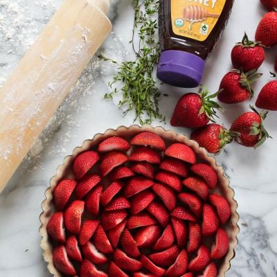 Strawberry & Thyme Honey Custard Tart