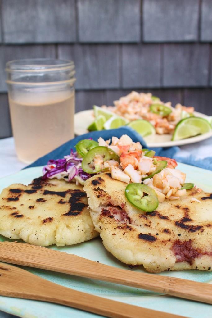 Salvadorean Pupusas with Seafood Curtido