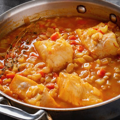 Cod in Saffron Broth with White Beans
