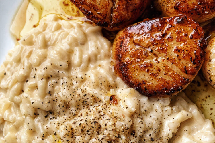 Seared Scallops and Lemon Parmesan Risotto
