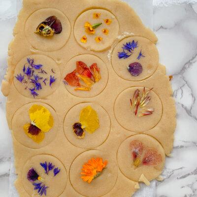 Edible Flowers Shortbread Cookies