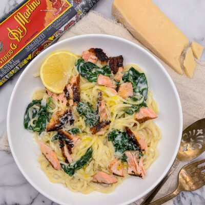Creamy Lemon Salmon Pasta