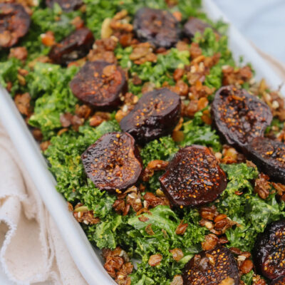 Brown Buttered Figs & Kale Salad with Crispy Lentils