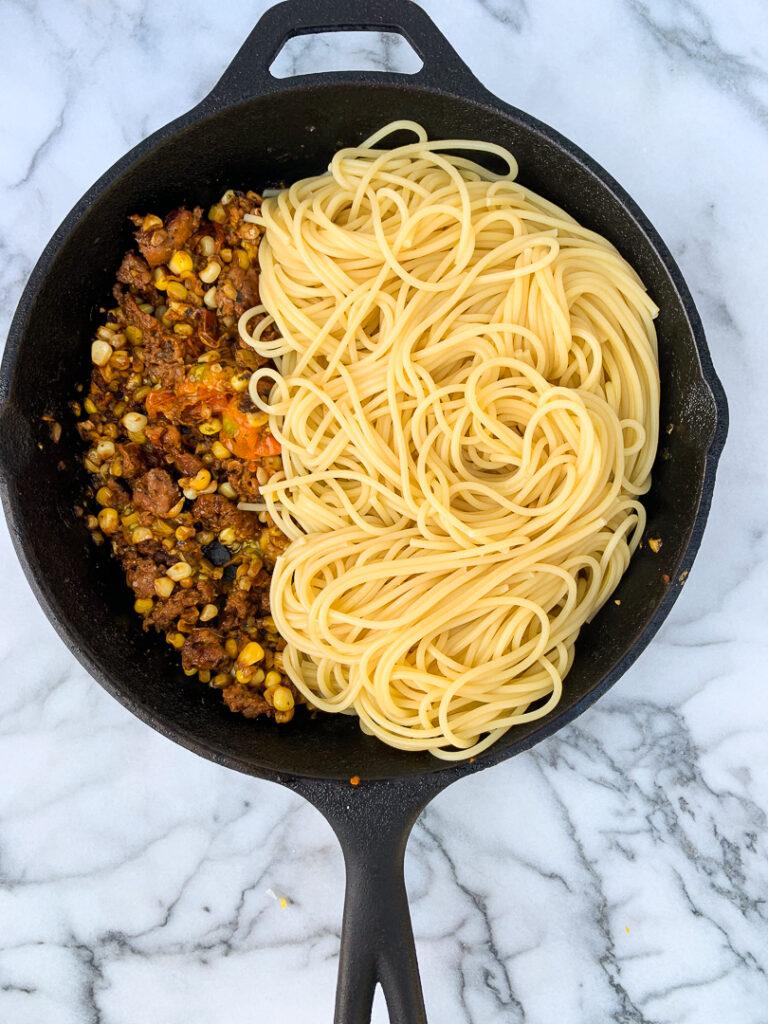 Sausage, Corn, and Basil Pasta-22