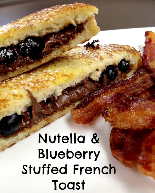 Nutella blueberry stuffed French toast is the brunch of champions! A delicious combination of chocolate-hazelnut spread and fresh blueberries, stuffed inside of flavorful French toast.
