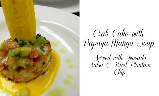 Caribbean Crab Cakes and Papaya-Mango Soup - Served with avocado salsa and fried plantains, this is a meal filled with Latin-inspired flavor! From CookingWithBooks.net